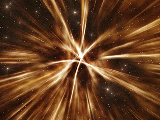 Explosion of supernova in deep space