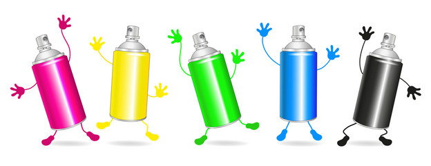 Collection of colorful spray cans, 