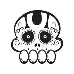 Funny Sugar Skull Line Art