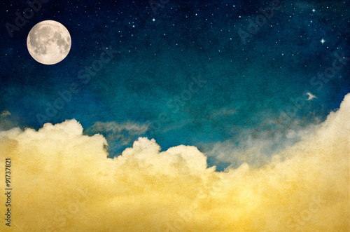 Wall mural Full Moon and Cloudscape