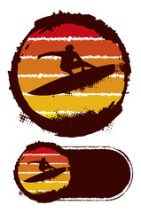 grunge summer circle with surfer jumping