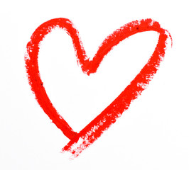 lipstick heart shape on white background