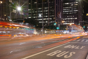 New York City street at night long exposure