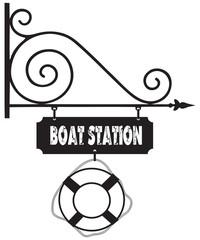 Road sign boat station