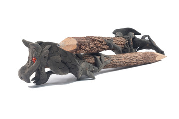 Wood carved dragon pencil