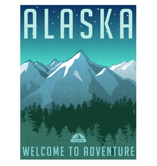 Retro style travel poster series. United States, Alaska mountain landscape.