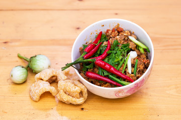 Thai Food appetizer ,Nam Prik Aong ,Thai Northern Style Pork and