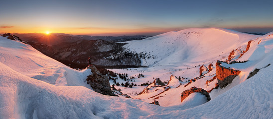 Photo Blinds Salmon Panorama of winter mountain, Slovakia frozen landscape