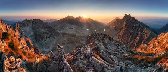 Acrylic Prints Mountains Sunset panorama mountain nature autumn landscape, Slovakia
