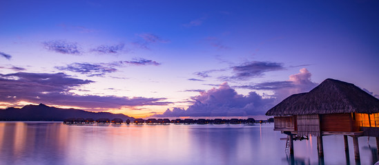 Beautiful Bora Bora at sunset