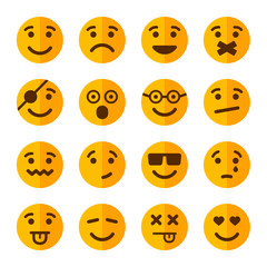 Flat Style Smile Emotion Icons Set. Vector