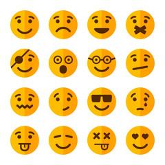 Flat Style Smile Emotion Icons Set. Vector