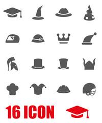Vector grey helmet and hat icon set