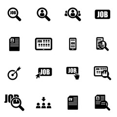 Vector black job search icon set