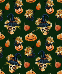 Watercolor halloween pattern