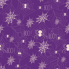 Halloween background with web and spiders.
