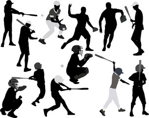 baseball players vector silhouette