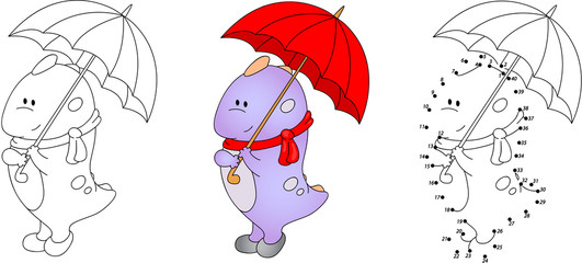 Cute purple dragon playing with umbrella. Vector illustration. C