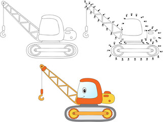 Cartoon construction crane. Vector illustration. Coloring and do
