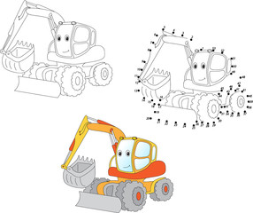 Cartoon excavator. Vector illustration. Coloring and dot to dot