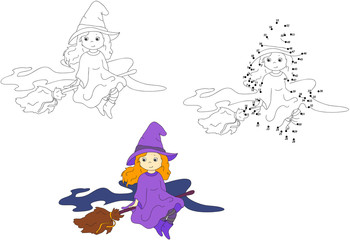 Cute and nice witch flying on a broom. Vector illustration. Colo