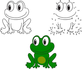 Cartoon frog. Vector illustration. Coloring and dot to dot game