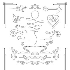Vector set of elegant curls and swirls. Elements for design
