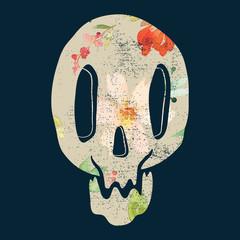 Print depicting a skull. Illustration poster.
