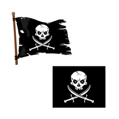 Jolly Roger Piracy Icon - A vector illustration of a Jolly Roger flag and an A skull icon with crossed swords.