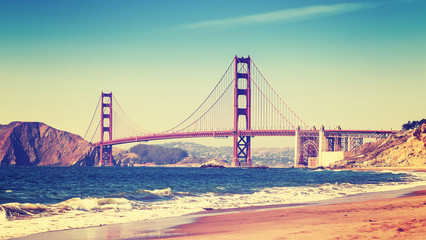 Retro style photo of Golden Gate Bridge, San Francisco.