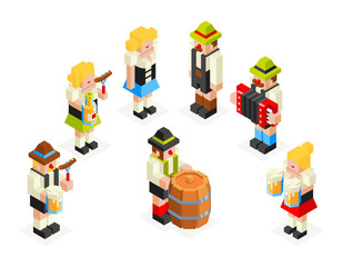 Man Woman Male Female Icons Set Oktoberfest Isometric 3d Beer