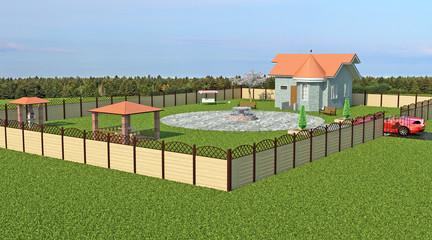 Загородный дом на участке с беседкой, фонтаном, барбекю