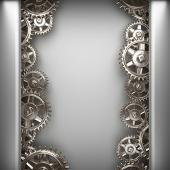gray brushed metal background with gears
