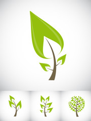 Beautiful Green Tree Icon on a White Background Vector Illustrat