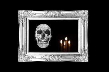 halloween concept,Silver vintage photo frame with  skull and can