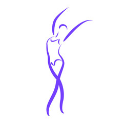 Sketched dancing woman.