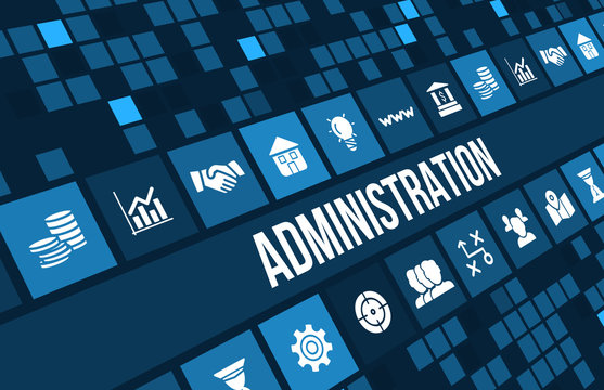 Administration concept image with business icons and copyspace