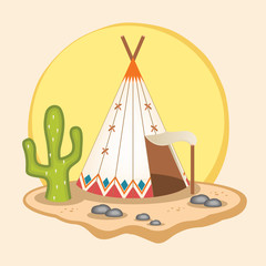 Indian wigwam. Vector flat illustration
