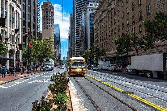 Tram in Market Street in San Francisco