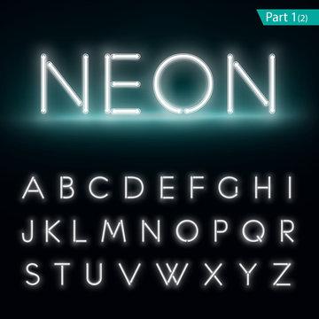 Neon alphabet. Glowing font. Vector format part 1