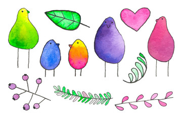 Birds and plants. Hand-drawn cartoon characters. Real watercolor