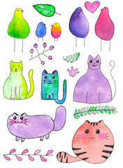Birds, cats and plants. Hand-drawn cartoon characters. Real