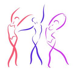 Sketched dancing girls set.