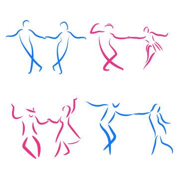 Dancing couple logo set.