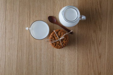 Healthy breakfast. Oat cookies with milk