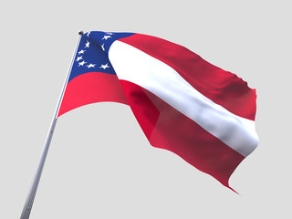 Confederate States of America flying flag isolate on white backg