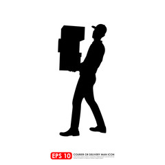 Silhouette of a man carrying stack of boxes