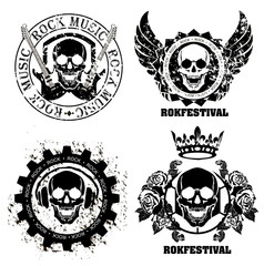 Music skull design elements with font type and illustration