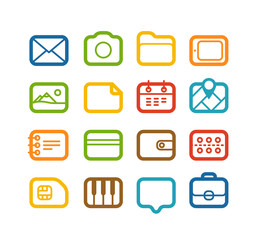Different Web color icons set