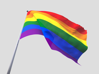 Rainbow flying flag isolate on white background.